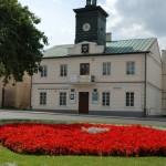Ratusz w Sierpcu, czerwone kwiaty, lato