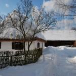 Chałupa z Rzeszotar Chwał, śnieg, wiklinowy płot - Muzeum Wsi Mazowieckiej w Sierpcu