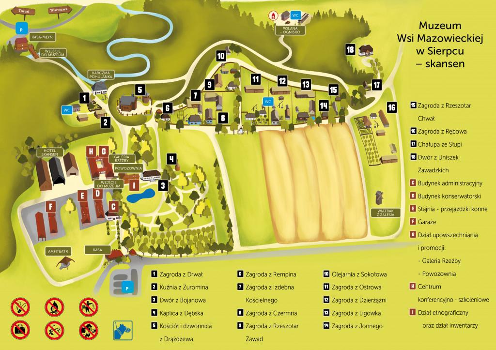 Mapa skansenu w Sierpcu
