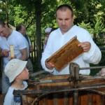 Miodobranie w skansenie w Sierpcu 2012 - mężczyzna w stroju ludowym prezentuje wyjmowanie ramek z ula