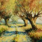 """Wystawa """"Sielskie klimaty w malarstwie Wojciecha Adama Witkowskiego"""", Ratusz w Sierpcu - jedna z prac, widok na wiejską drogę z wierzbami"""