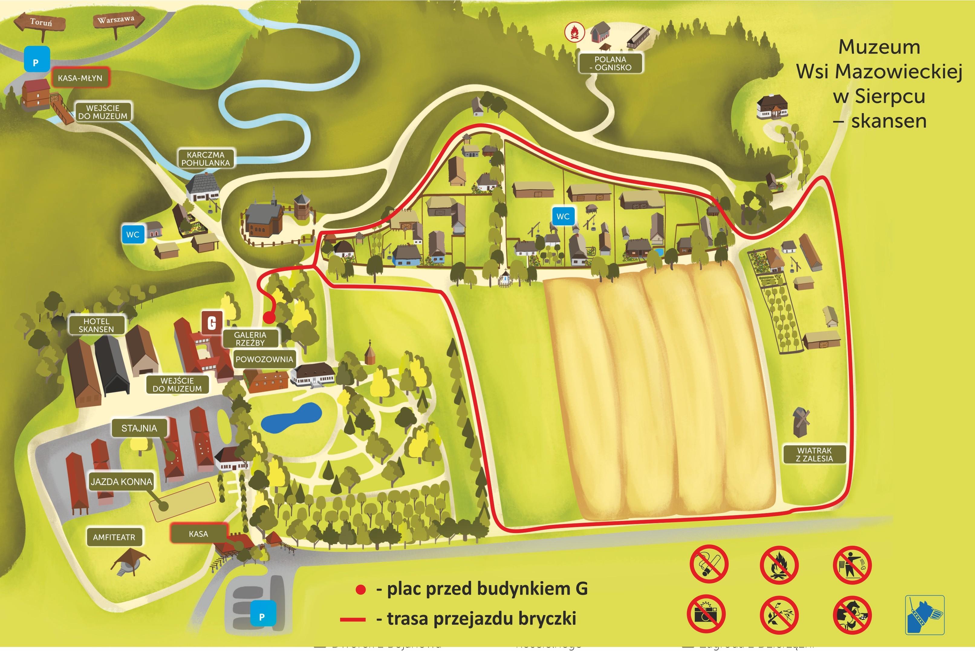 mapa przejazdu wozu lub kuligu