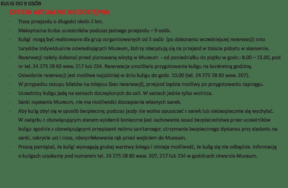 kulig pandemia- niedostępna