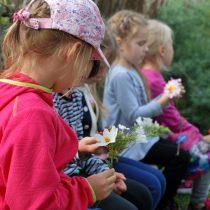 Dzieci w zagrodzie wiejskiej, poznają kwiaty rosnące dawniej w ogrodach - Skansen w Sierpcu