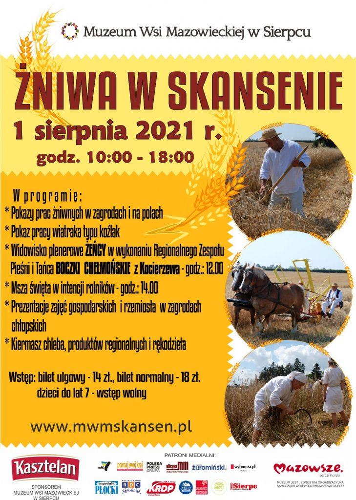 Skansen w Sierpcu - plakat imprezy Żniwa w skansenie