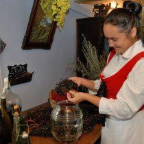 Kobieta w stroju ludowym robi sok z czarnego bzu - skansen w Sierpcu