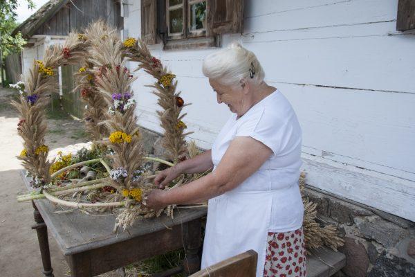 starsza kobieta przygotowująca wieniec dożynkowy ze zbóż i kwiatów