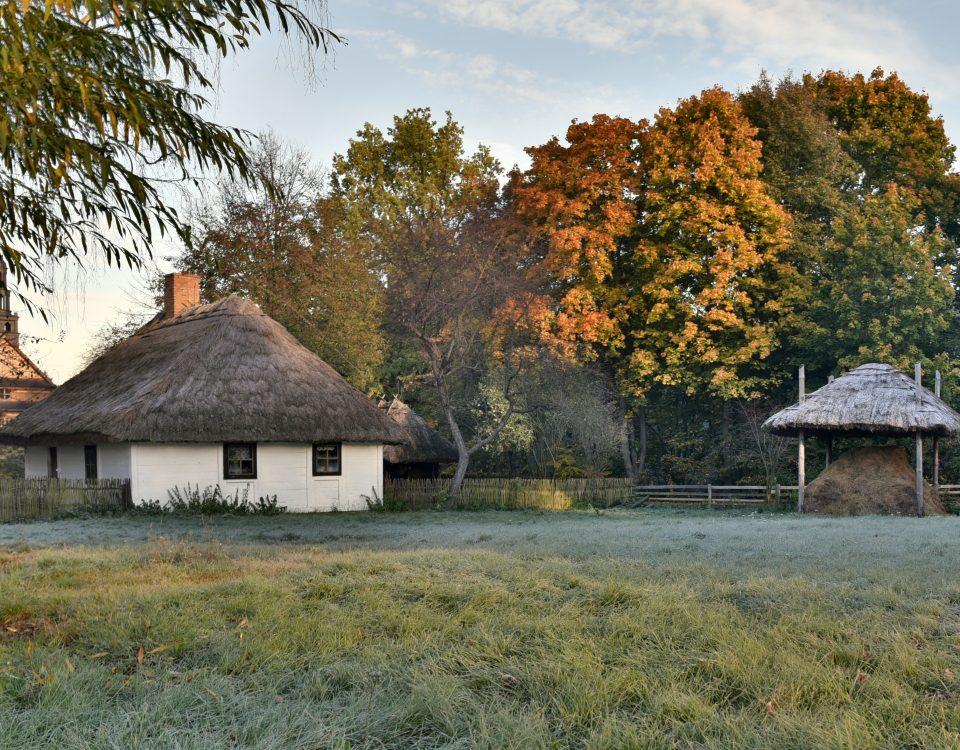 Jesienny widok, wiejska chata, mróz na drzewach, kolorowe liście drzew - skansen w Sierpcu